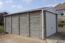 Stone finish Concrete Garage