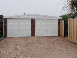Double Apex Concrete Sectional Garage for our client in New Milton