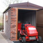 Apex Concrete Shed with brick front posts