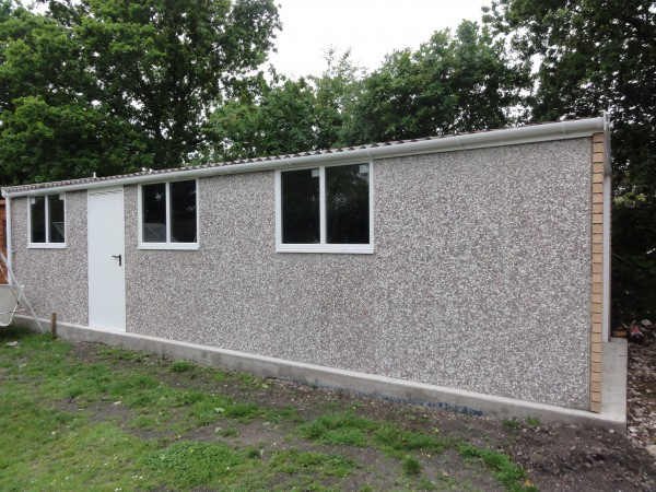 Apex Concrete Garage 30 Long With Coloured Roof Sheets