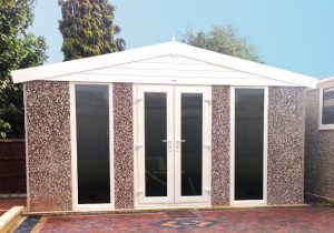 Garden Room with white UPVC windows and doors